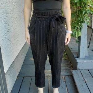 Striped trousers **not paper bag style**